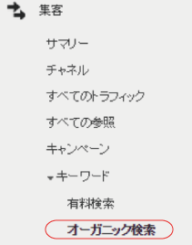 左ナビ:集客>キーワード>オーガニック検索