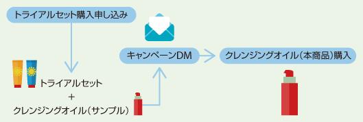 トライアルセット購入申し込み→トライアルセット+クレンジングオイル(サンプル)キャンペーンDM→クレンジングオイル(本商品)購入
