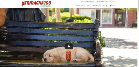 携帯ボトルを販売するECサイト「Sriracha2Go」