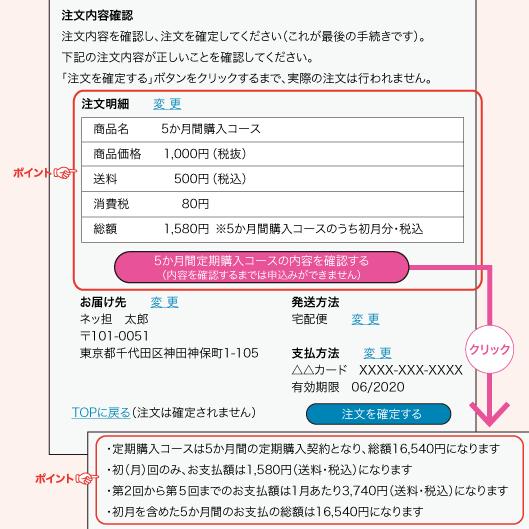 注文内容確認注文内容を確認し、注文を確定してください(これが最後の手続きです)。下記の注文内容が正しいことを確認してください。「注文を確定する」ボタンをクリックするまで、実際の注文は行われません。注文明細  変 更 商品名 5か月間購入コース 商品価格1,000円(税抜) 送料 500円(税込) 消費税80円 総額1,580円 ※5か月間購入コースのうち初月分・税込5か月間定期購入コースの内容を確認する(内容を確認するまでは申込みができません)クリック・定期購入コースは5か月間の定期購入契約となり、総額16,540円になります・初(月)回のみ、お支払額は1,580円(送料・税込)になります・第2回から第5回までのお支払額は1月あたり3,740円(送料・税込)になります・初月を含めた5か月間のお支払の総額は16,540円になります