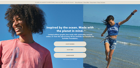 「American Eagle Outfitters」の「AE for Surfrider」紹介ページ