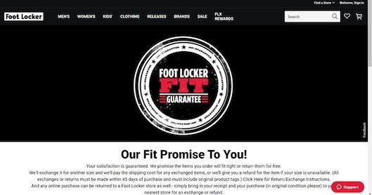購入商品のサイズが合わなかった場合、無料で返品/交換に応じるサービス「FIT Guarantee」を導入している「Footlocker」