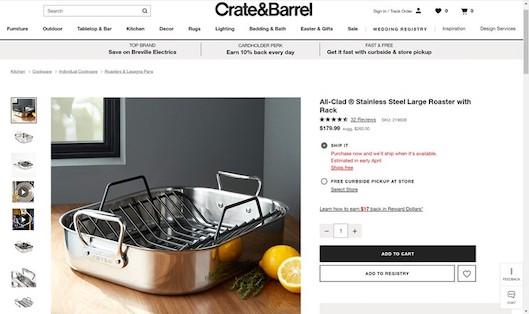 美しい画像やビデオでブランドを紹介している「Crate&Barrel」