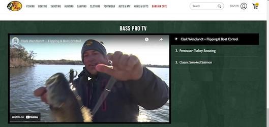 「Bass Pro TV」を取り入れているアウトドア用品の「Bass Pro」