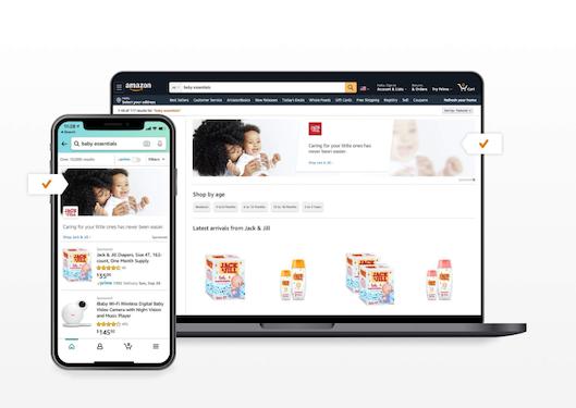 スポンサーブランド広告は、ブランドロゴ、カスタム見出し、および複数の商品を掲載するクリック課金制の広告