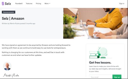 「Selz」のサイトのなかでAmazonによる買収について言及しているページ