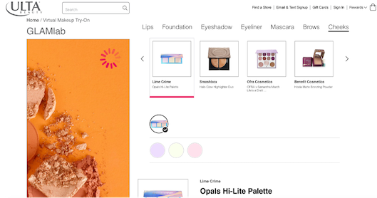 Ulta Beautyが提供するバーチャルメイクアップサービス「GLAMlab」