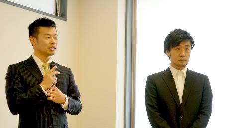 一般社団法人日本CRM協会の理事・米田哲朗氏(シーピーユー社長、写真左)と、小林亮介氏(Ryo-MA社長)