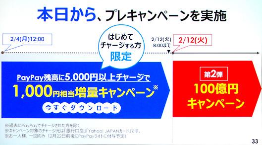 PayPay残高に5,000円以上チャージで1,000円相当増量キャンペーン