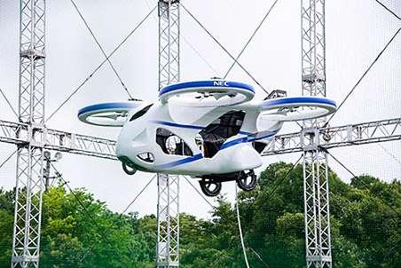 NECは「空飛ぶ車」の実用化に向けた試作機の浮上実験に成功したと発表